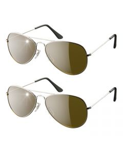 Eagle Eyes - Aviator Sunglasses set of 2 - zilver