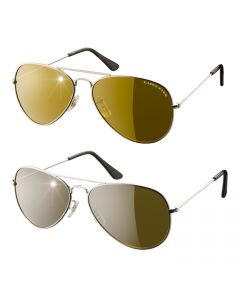 Eagle Eyes - Aviator Sunglasses set of 2 - zilver/goud
